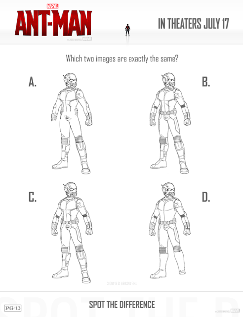 free printables ant-man spot the difference worksheet