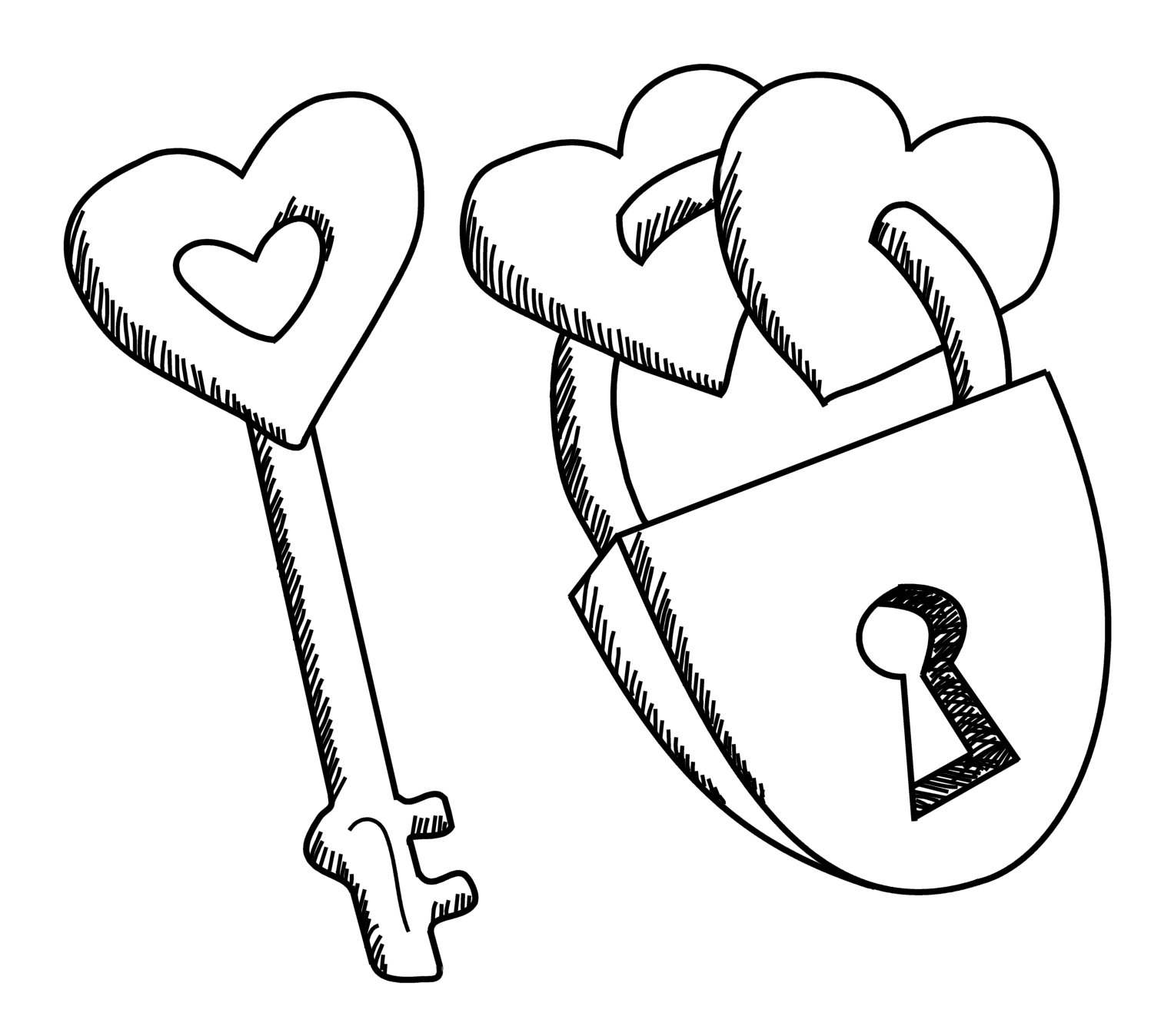 lock heart drawing coloring pages