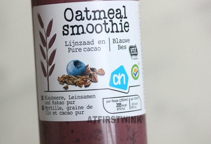 Albert Heijn (AH) oatmeal smoothie lijnzaad, pure cacao, blauwe bes