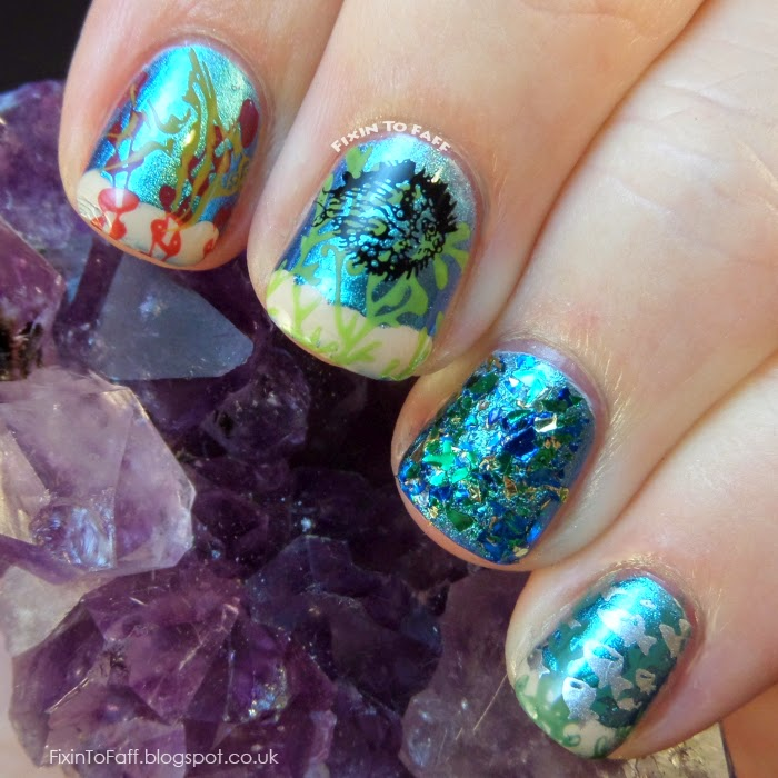 Sea Creatures themed nail art for the Avast Ye Bilge Rats Pirate Nail Art challenge.