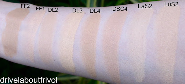 Armani foundation swatch Face Fabric 2, 1 Designer Lift 2, 3, 4 Designer Shaping Cream 4 Lasting Silk 2 Luminous Silk 2