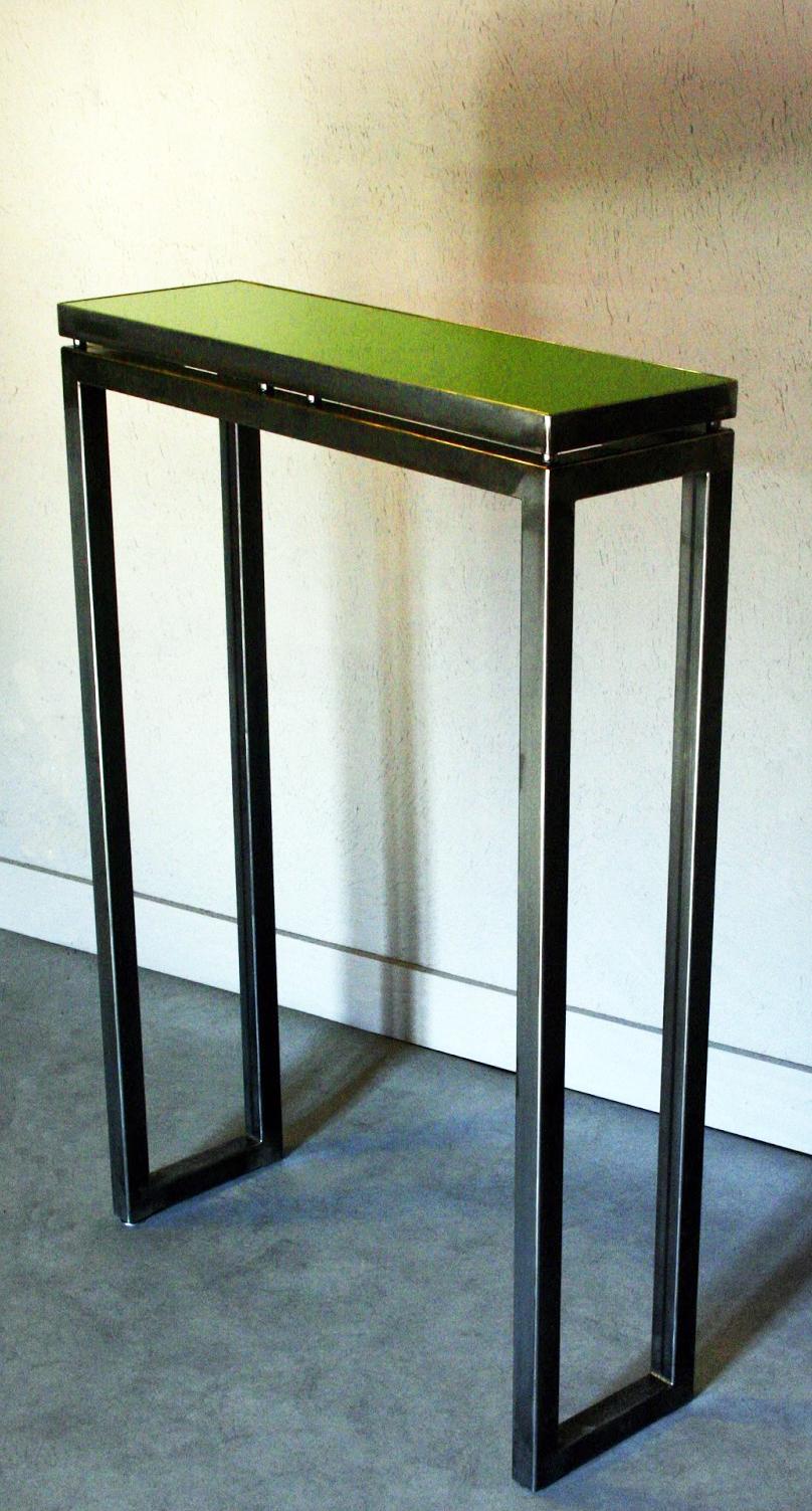 ferronnerie m tallerie serrurerie 79 deux s vres l 39 art du fer play console m tal et verre 1. Black Bedroom Furniture Sets. Home Design Ideas