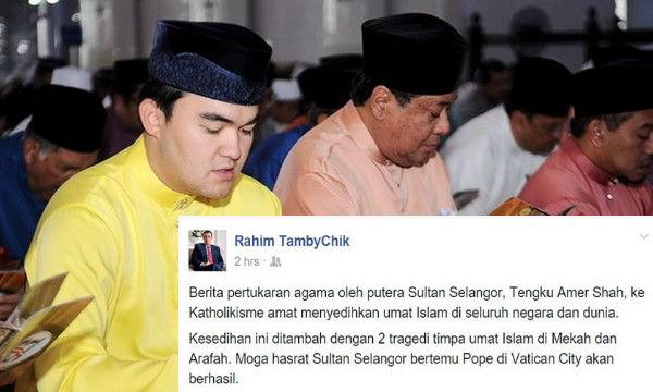 Sultan Selangor Buat Laporan Polis Dakwaan Raja Mudanya Murtad