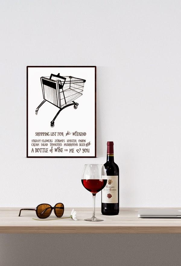 tavla till köket, kökstavla, tavlor i kök, kökets, köks, tavlan, poster, posters, webbutik, webbutiker, webshop, print, prints i svartvitt, svartvita posters, artprint, artprints, konsttryck, konsttrycket, tryck, svarta och vita, svart, vitt, vit, vita, kundvagn med shoppinglista, shoppinglist, vin, vinflaska, lista, listor, på väggen, kundvagnen,