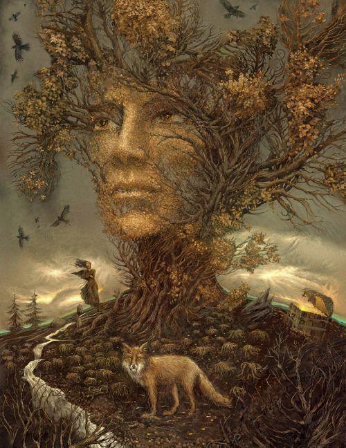 Andrew Ferez 25kartinok deviantart ilustrações sombrias surreais Árvore
