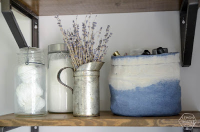 DIY Dip Dye Cloth Baskets, shared by Lemon Thistle