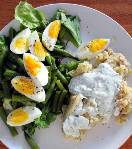 Emergency dinner: mashed potatoes with homemade ranch & salad with green beans & eggs
