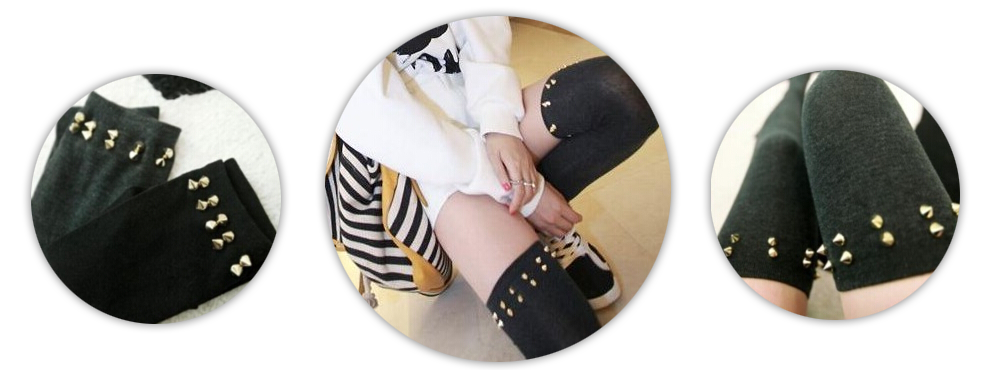 "Get 10% off edgy, grungy, Harajuku-style spiked knee socks using the code ""mimchikimchi"" at Fashion Kawaii"