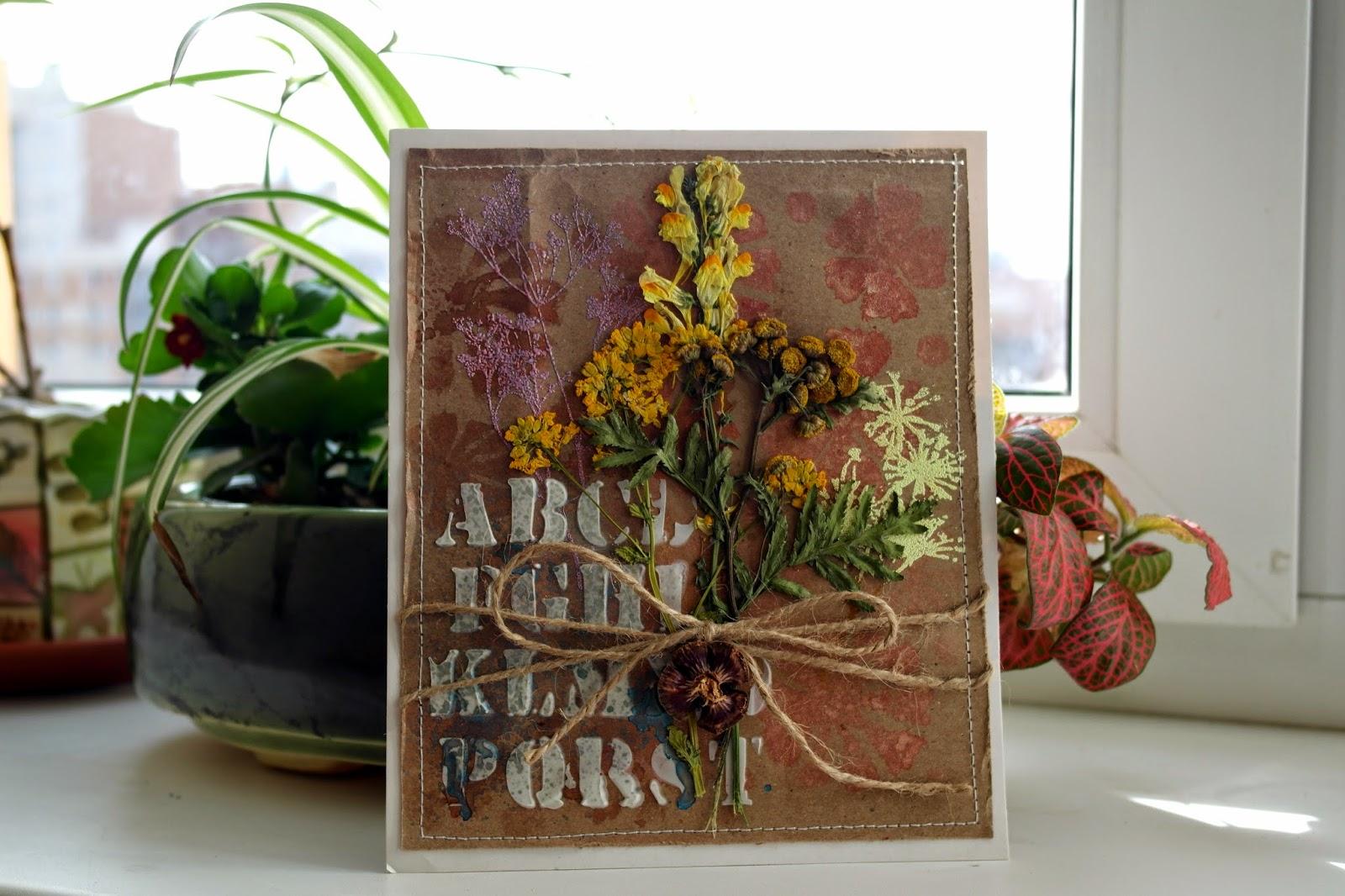 Открытки с сухими цветами 51