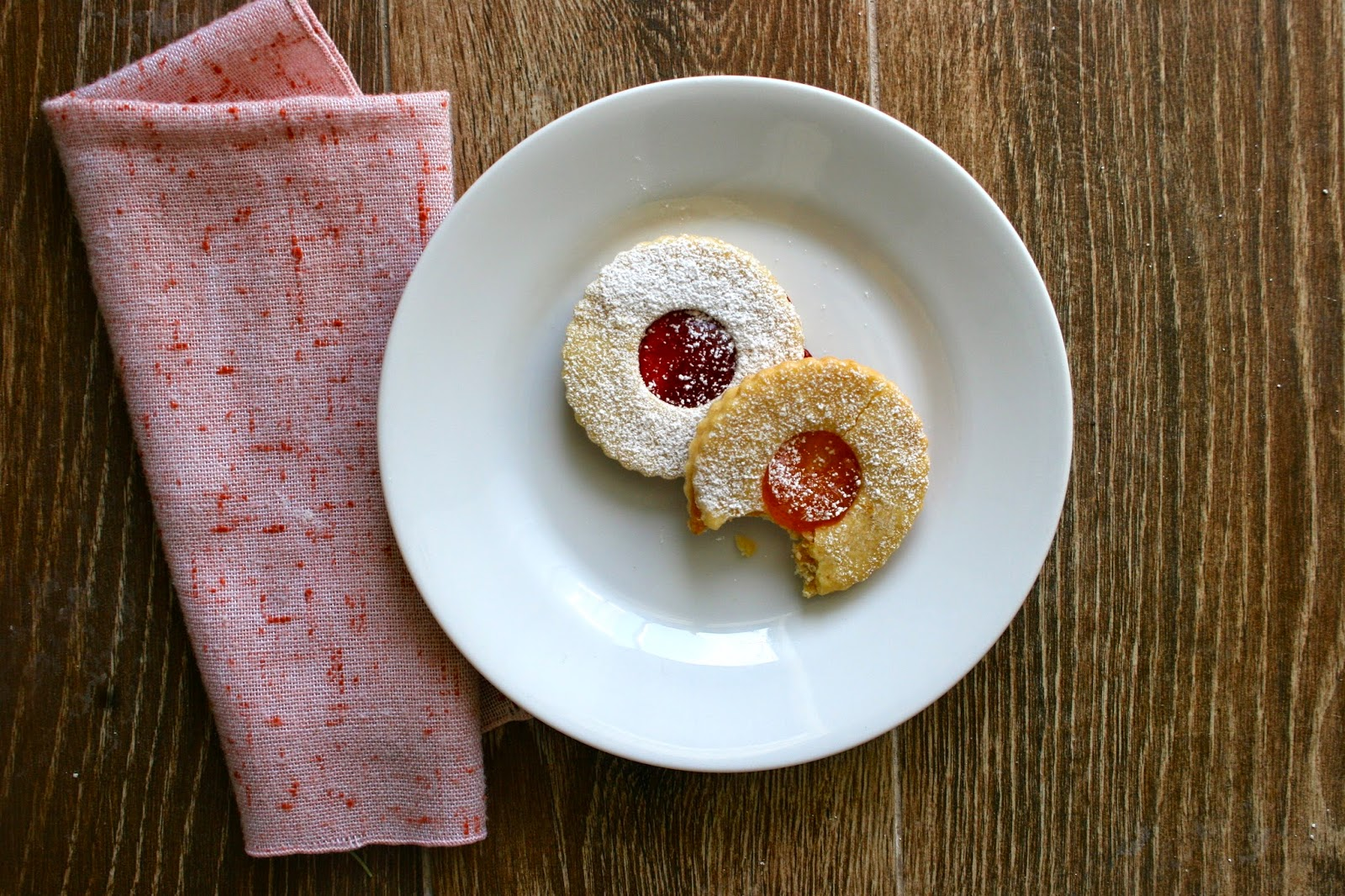 Strawberry and Apricot Jam Cookies on Plate