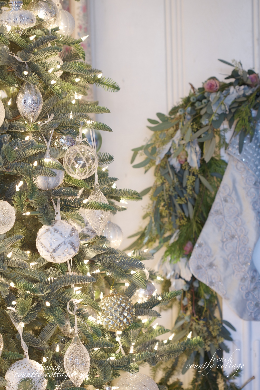 French Country Christmas Decorations - French country cottage christmas tree white clear glass