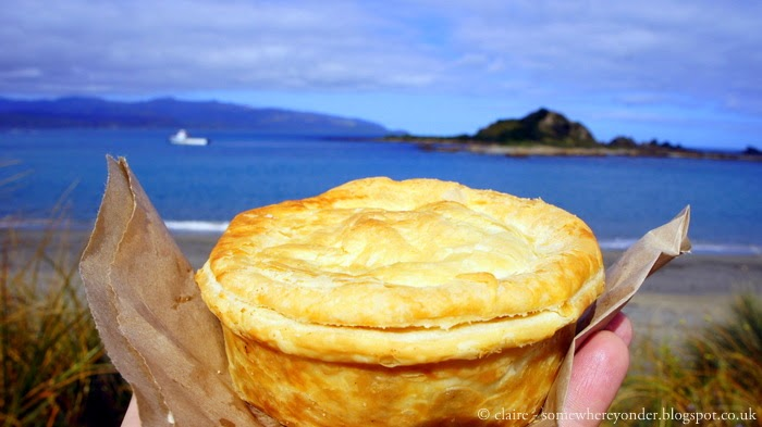 New Zealand steak & cheese pie (my favourite) in Island Bay, Wellington