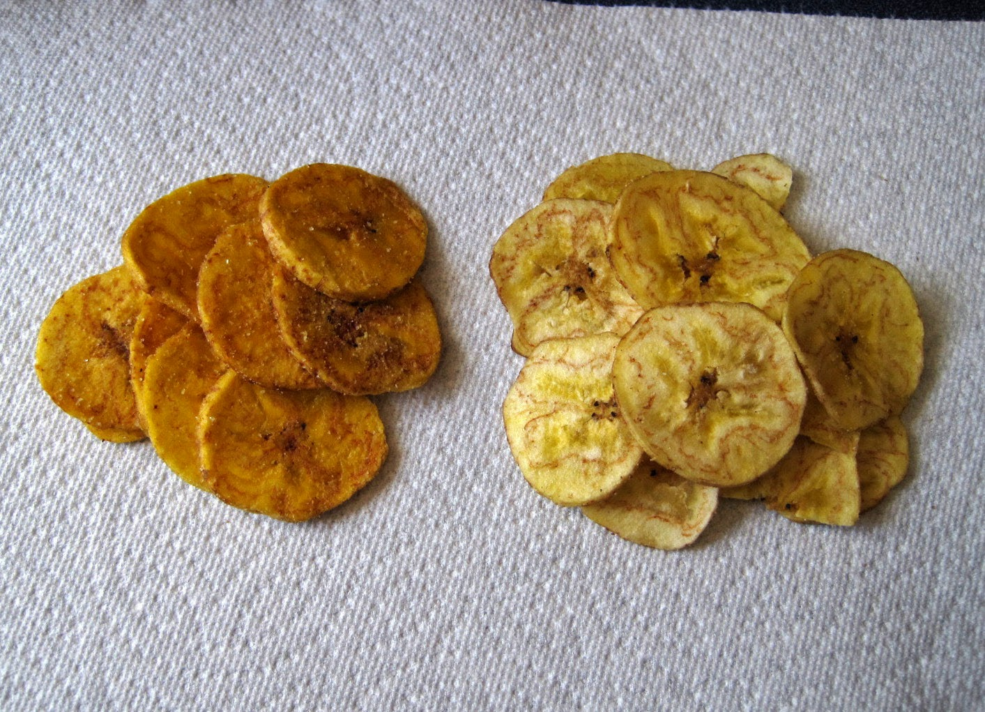 Inka Plantain Chips, Turbana Plantain Chips compared