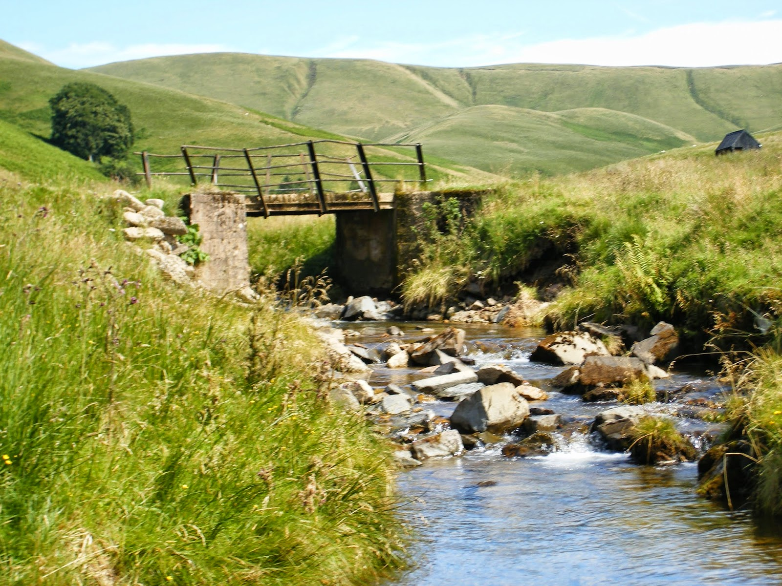 country landscape with hills, river/ stream and bridge in summer in scotland