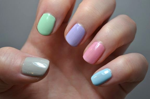 Nails pastel colors