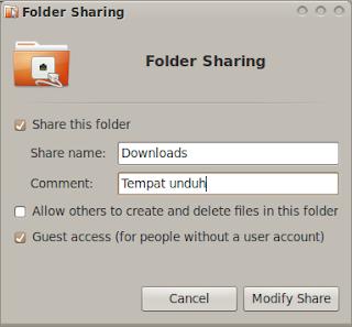 Pengaturan sharing Ubuntu