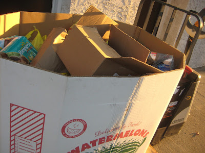 box of donated food. CFBNJ turkey drive Dunellen, NJ