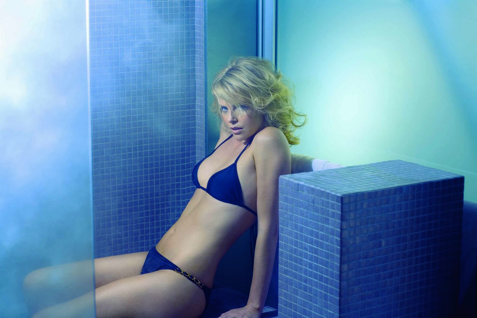 Charlize Theron in blue bikini