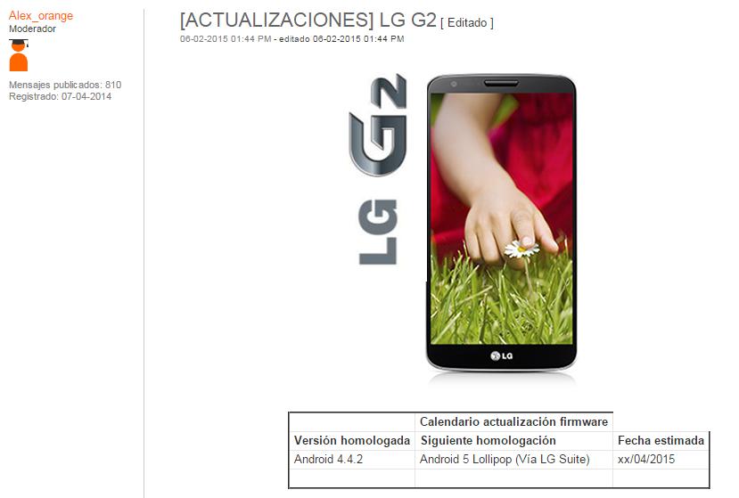 Según Orange la actualización de Android Lollipop para el LG G2 saldrá en Abril.