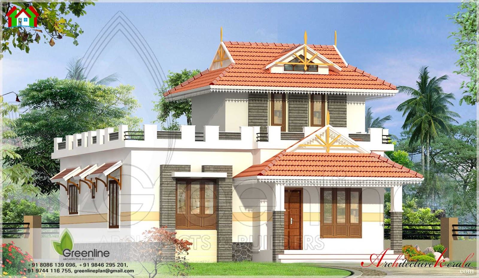 KERALA: 1000 SQUARE FEET TRADITIONAL STYLE KERALA HOUSE ELEVATION