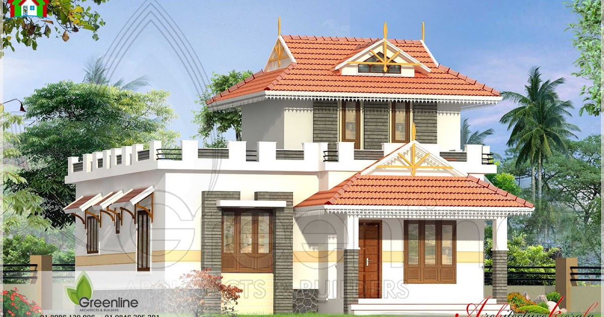 1000 square feet traditional style kerala house elevation for Kerala house 1000 square feet