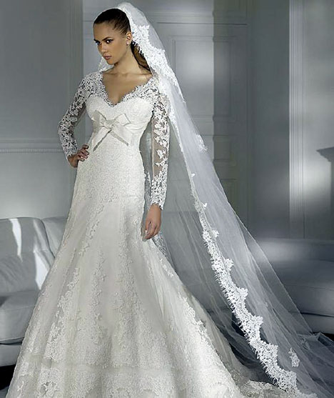 Beautiful White Winter wedding dress