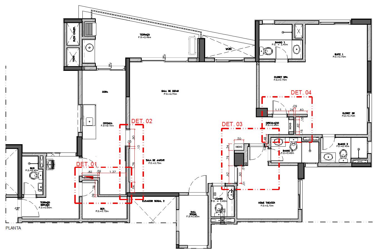 DecorCAD A8: Planta base modificando paredes e inserindo hachuras  #CC1500 1365x907 Banheiro Acessibilidade Bloco Cad