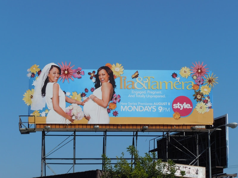 Tia and Tamera TV billboard