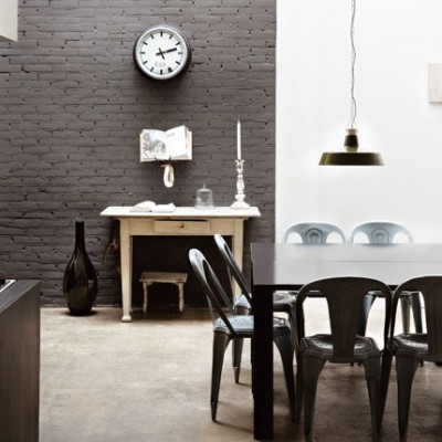 Exposed brick and plaster walls for the interior design of your bedroom house interior decoration - Divine images of home interior wall with grey brick wall ...