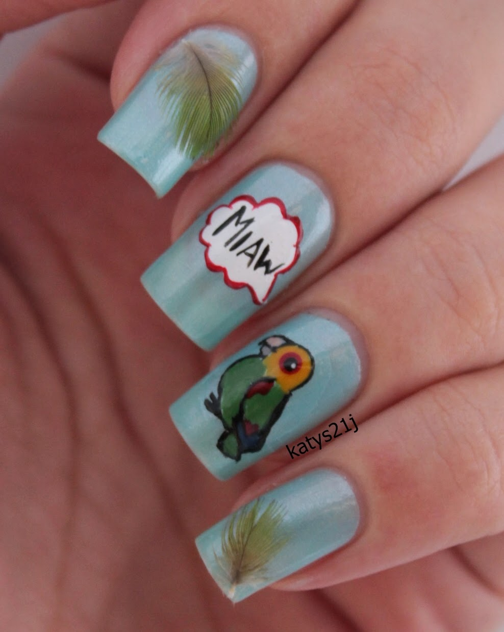 My Nail Art Journal: Amazon Parrot Nails Inspired