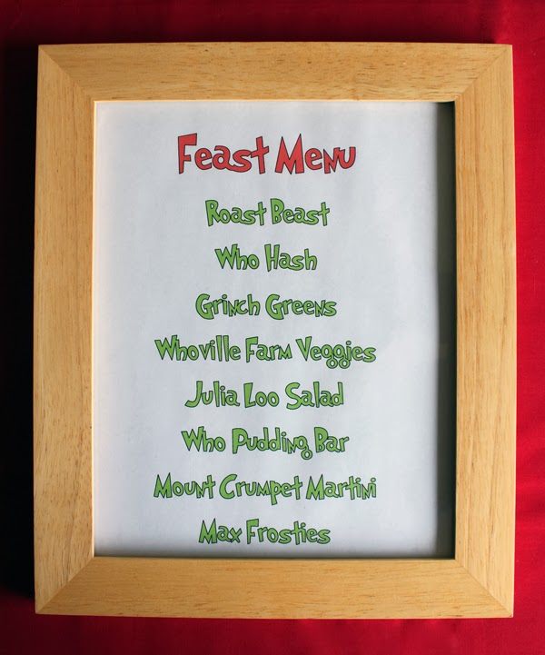 Feast menu for a Grinch holiday party