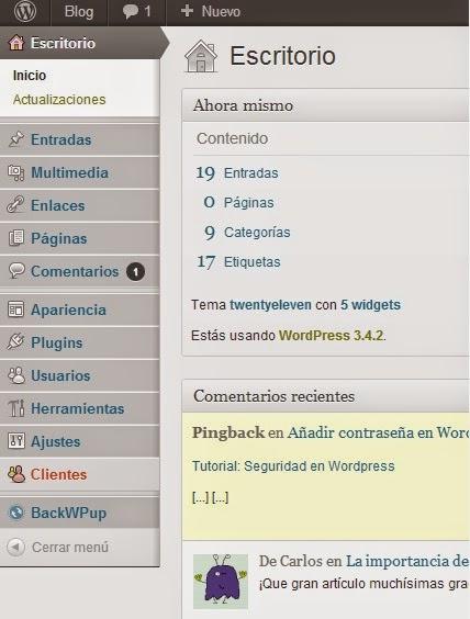 Añadir pestañas en el menú del panel de administración de Wordpress ...