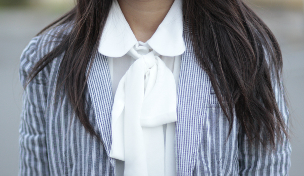 joyfuloutfits bow blouse stripe blazer