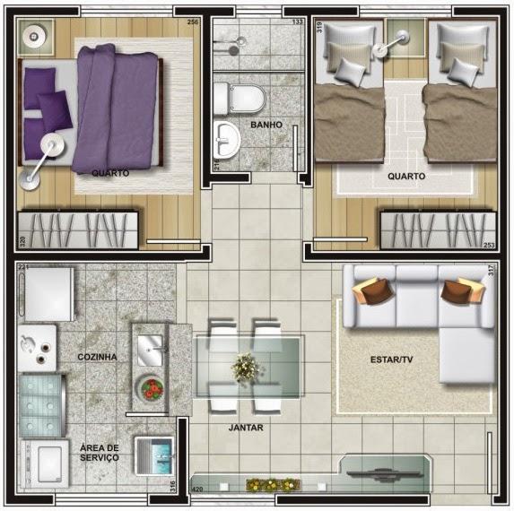 planta de apartamento quadrado