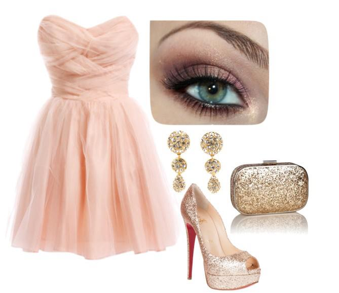light pink dress with accessories combination