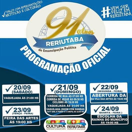 Comemoração dos 91 anos de Reriutaba.