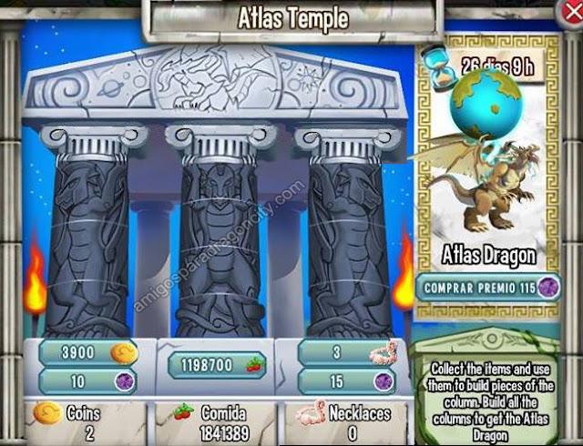 imagen de las tareas del templo  atlas de la isla olympus de dragon city