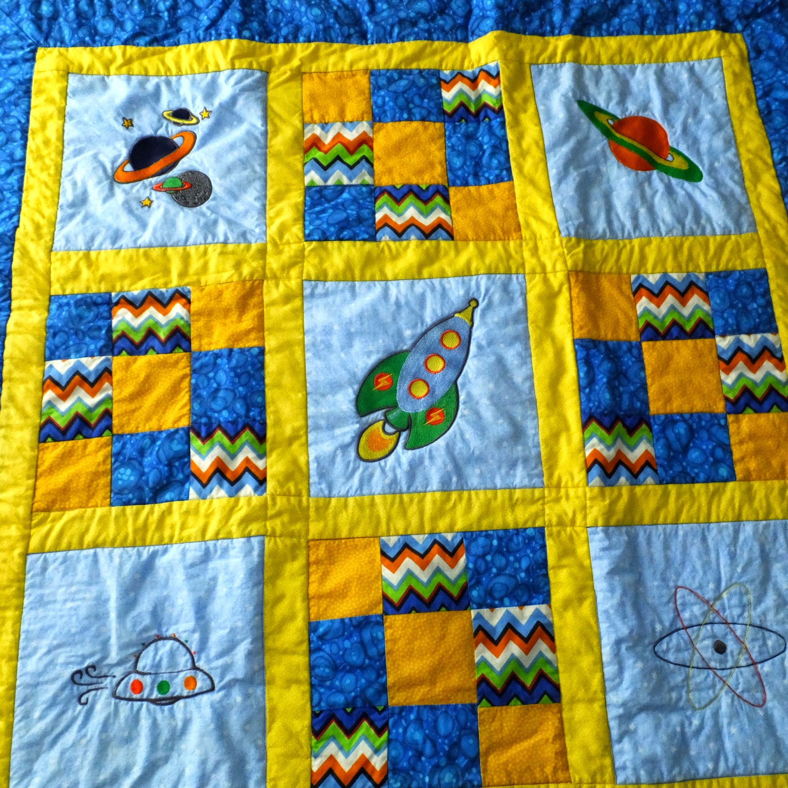 Duckwells handmade baby boy quilt space theme for Space themed fleece fabric