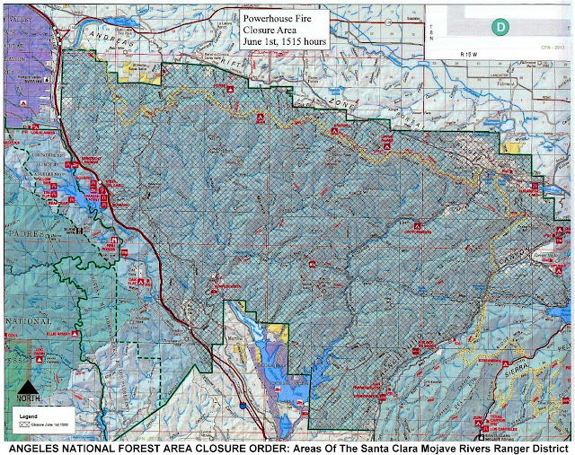 ANGELES NATIONAL FOREST AREA CLOSURE ORDER: Areas Of The Santa Clara Mojave Rivers Ranger District