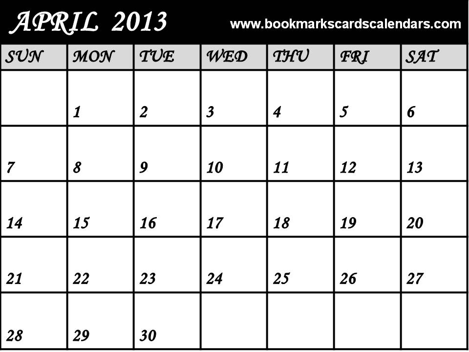 Calendar April 2013 : April calendar printable monthly blank