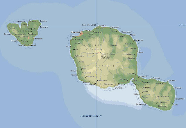 map of tahiti, moorea & teahuppo