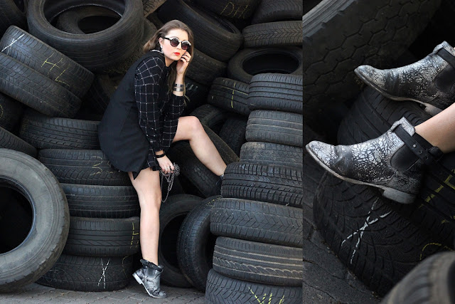DIY silber boots, silver spray shoes, karo, plaid set, H&M, monki glasses, frame, Sonnenbrille mit silbernem Rahmen, Trend 2014, Summer, orange Lips, Oranger Lippentift, nyx, banded, bracelet, armand, anker, hamburg, modeblogger, style, ootd, fashion, germany