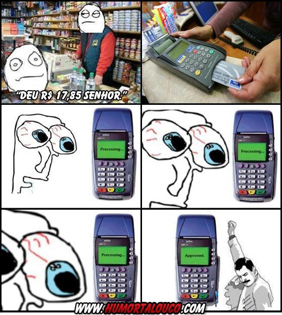 Tirinha: Fazendo compras e pagando com cartão de crédito...