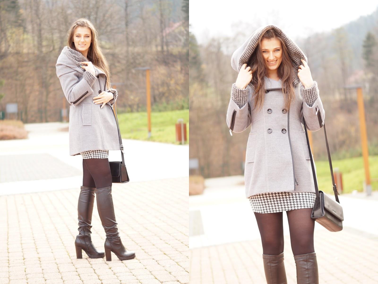 szary zimowy płaszcz stylizacje