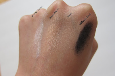 swatches of eye shadows