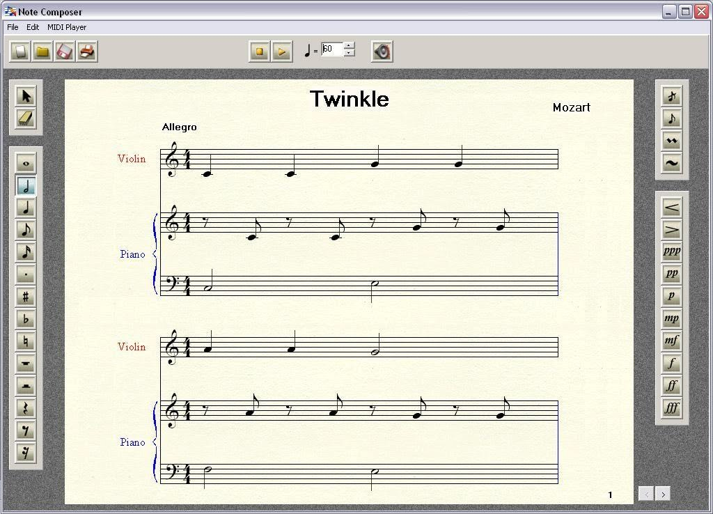 ... : cara membaca penuliasan not balok dan pengertian composer file MIDI
