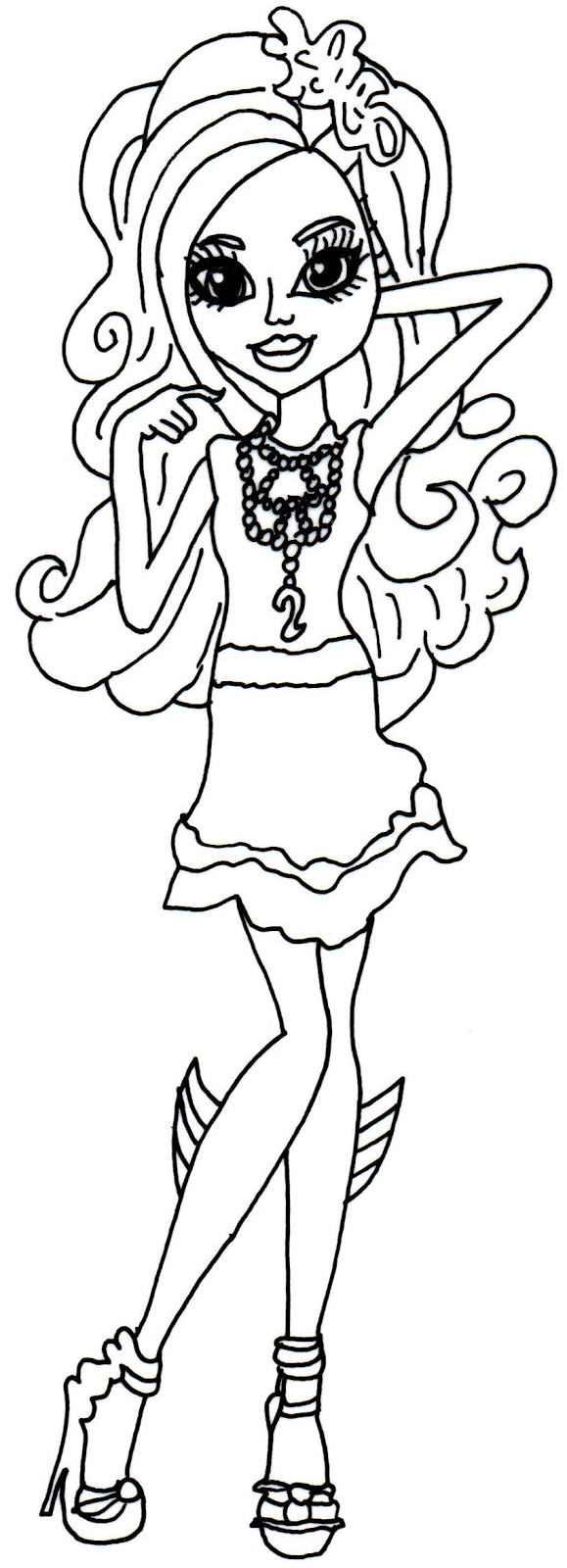 free printable monster high coloring pages lagoona blue frights