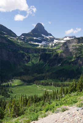 5 photo panorama - Logan Pass and Reynolds Creek Going-to-the-Sun Road Glacier National Park