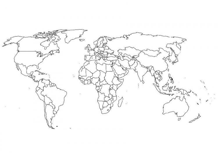 Mapa Mundi para imprimir y colorear ~ Dibujos para Colorear Infantil