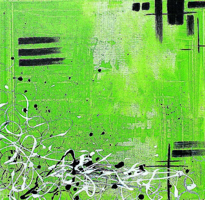 Three Split Panels Of Amusing Lime Green Abstract Art Oil